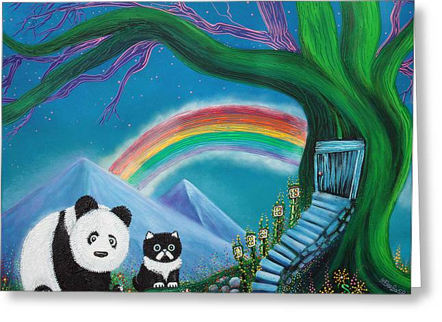 Treehouse Greeting Cards - The Panda The Cat and The Rainbow Greeting Card by Laura Barbosa
