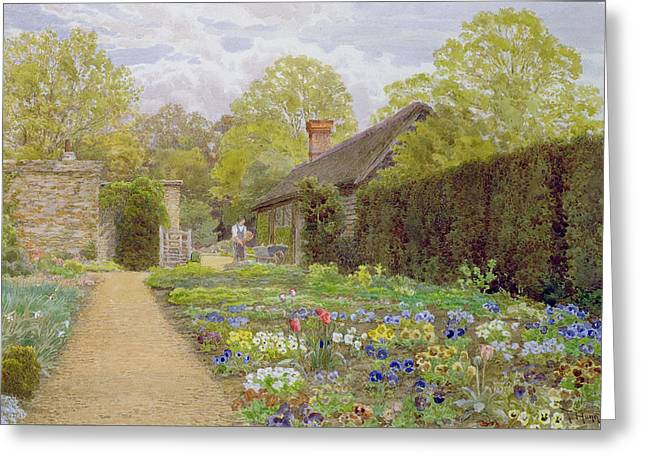 Hedge Greeting Cards - The Pansy Garden, Munstead Wood Greeting Card by Thomas H. Hunn