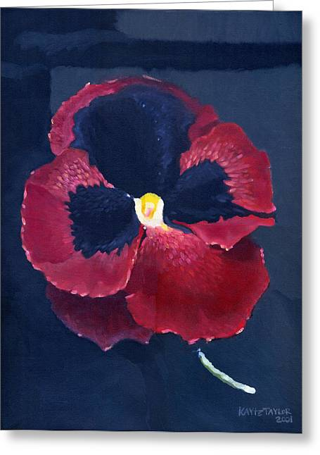 Alizarin Crimson Greeting Cards - The Pansy Greeting Card by Katherine Miller