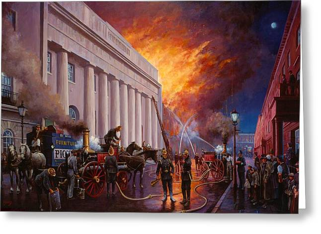 1874 Greeting Cards - The Pantechnicon fire. 1874. Greeting Card by Mike  Jeffries