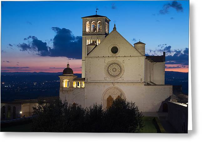 Recently Sold -  - Italian Sunset Greeting Cards - The Papal Basilica of St. Francis of Assisi Greeting Card by Jaroslav Frank