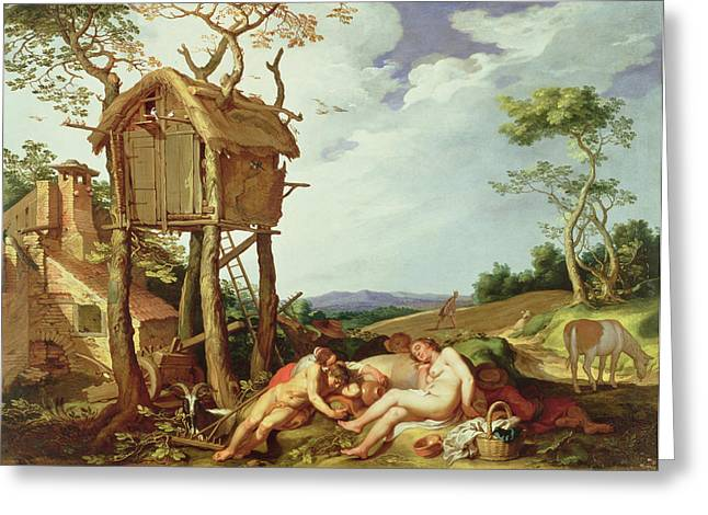 Sowing Greeting Cards - The Parable of the Wheat and the Tares Greeting Card by Abraham Bloemaert