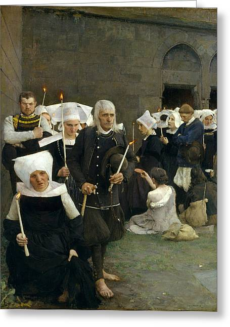 Pardon Greeting Cards - The Pardon in Brittany Greeting Card by Pascal-Adolphe-Jean Dagnan-Bouveret