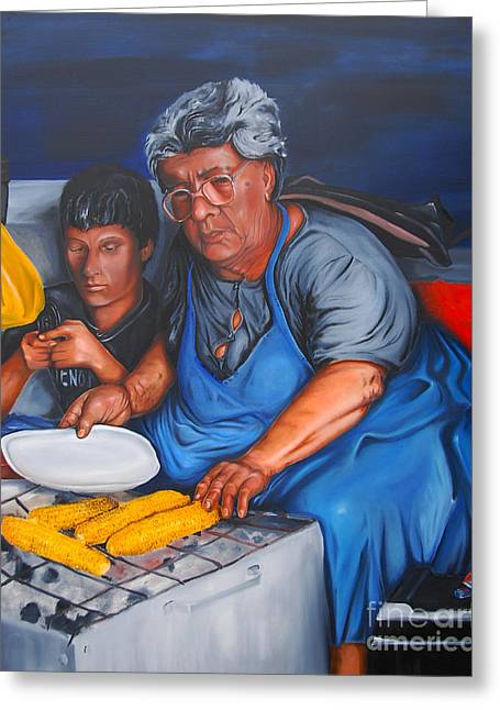 Old Street Greeting Cards - The Parga Corn Seller Greeting Card by James Lavott