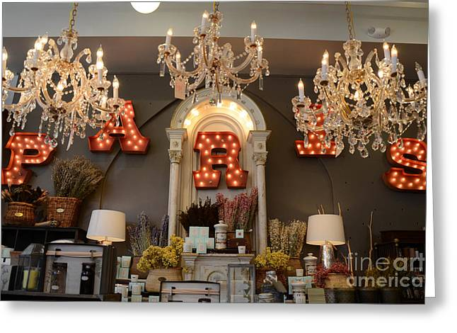 Savannahs Greeting Cards - The Paris Market - Savannah Georgia Paris Market - Paris Macaron Shop - Parisian Chandelier Art Shop Greeting Card by Kathy Fornal
