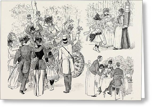 The Paris Season The Battle Of Flowers In The Avenue Des Greeting Card by French School