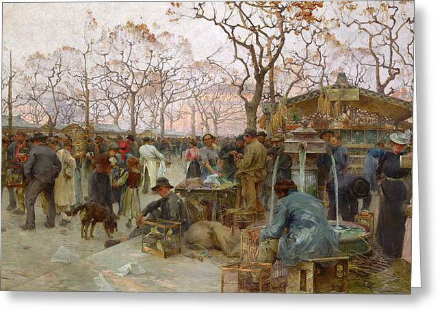 Cage Greeting Cards - The Parisian Bird Market Oil On Canvas Greeting Card by Henri-Gaston Darien
