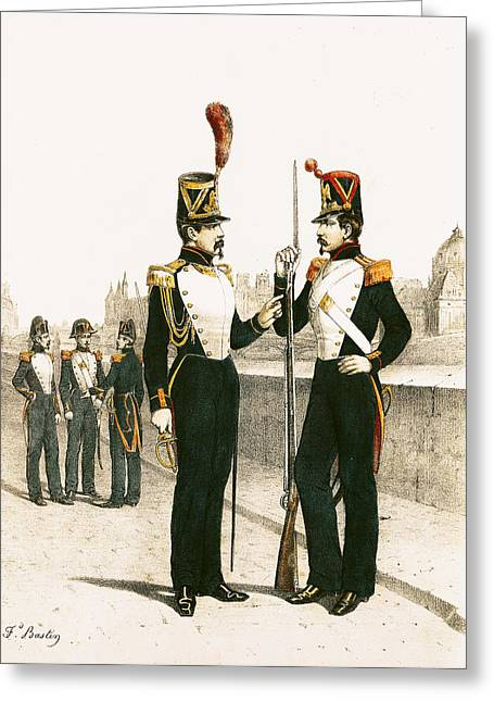 Guarded Greeting Cards - The Parisian Municipale Guard, Formed 29th July 1830 Coloured Engraving Greeting Card by French School