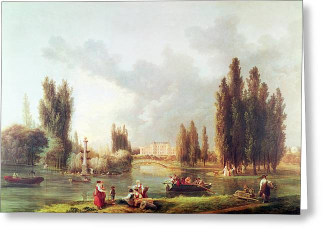 Parc Greeting Cards - The Park And Chateau At Mereville Oil On Canvas Greeting Card by Hubert Robert