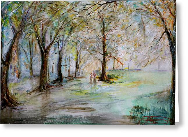 The Park Bench Greeting Card by Jack Diamond