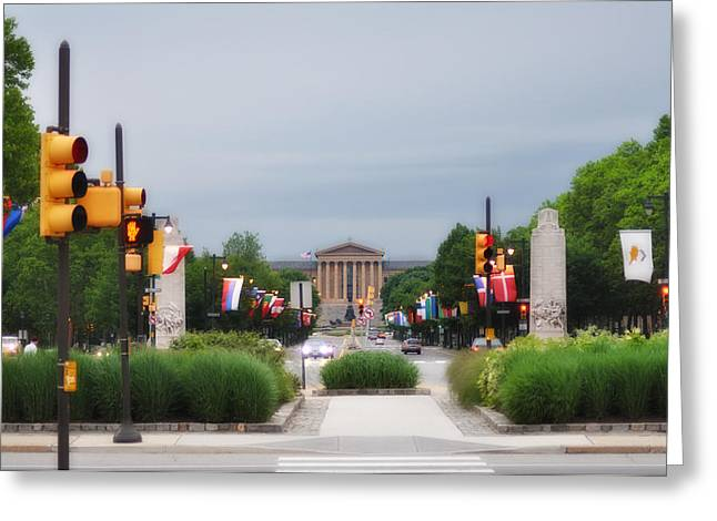 Parkway Digital Greeting Cards - The Parkway and Art Museum Greeting Card by Bill Cannon