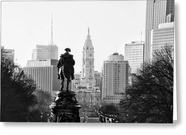 Parkway Digital Greeting Cards - The Parkway End To End in Black and White Greeting Card by Bill Cannon