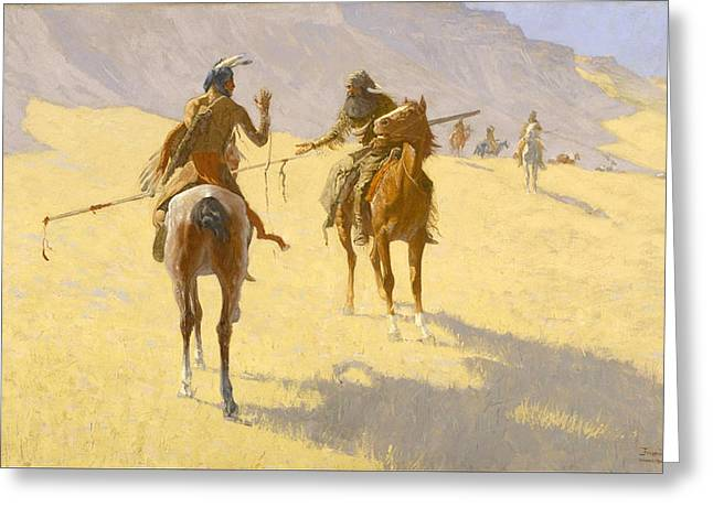 Remington Greeting Cards - The Parley Greeting Card by Frederic Remington