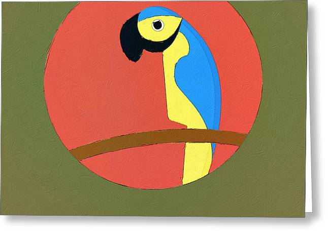 Parrot Digital Art Greeting Cards - The Parrot Cute Portrait Greeting Card by Florian Rodarte