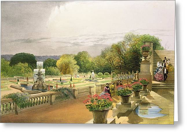 Garden Art Greeting Cards - The Parterre Harewood House near Leeds Greeting Card by E Adveno Brooke