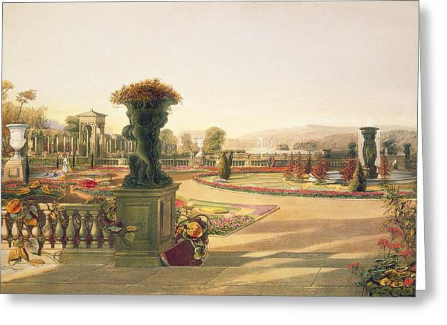 Garden Art Greeting Cards - The Parterre  Trentham Hall Gardens Greeting Card by E Adveno Brooke