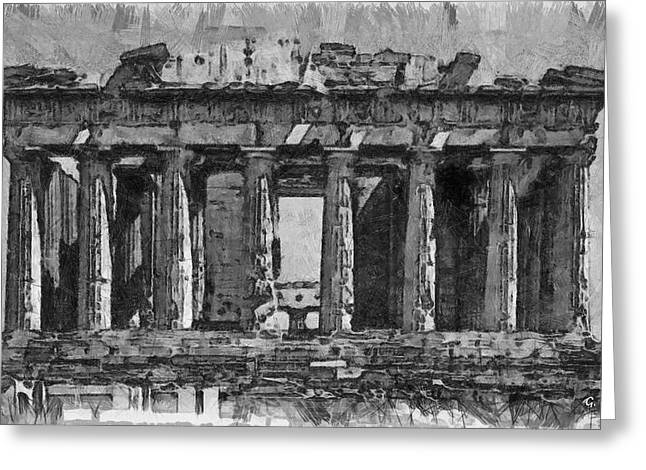 Ancient Ruins Drawings Greeting Cards - The Parthenon Greeting Card by George Rossidis