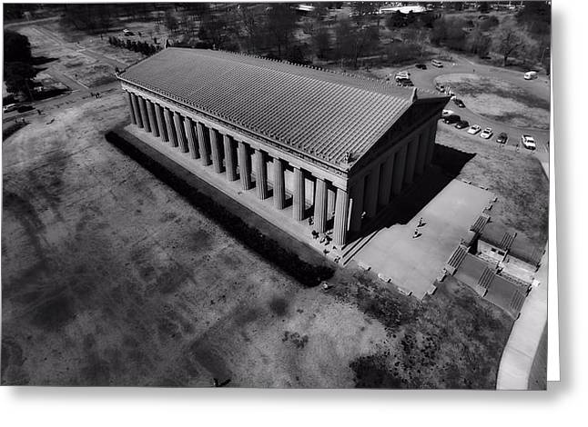 Architecture Of Nashville Greeting Cards - The Parthenon In Black And White Greeting Card by Dan Sproul