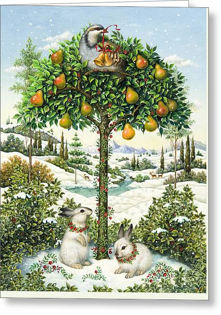Best Sellers -  - Snowy Day Greeting Cards - The Partridge in a Pear Tree Greeting Card by Lynn Bywaters