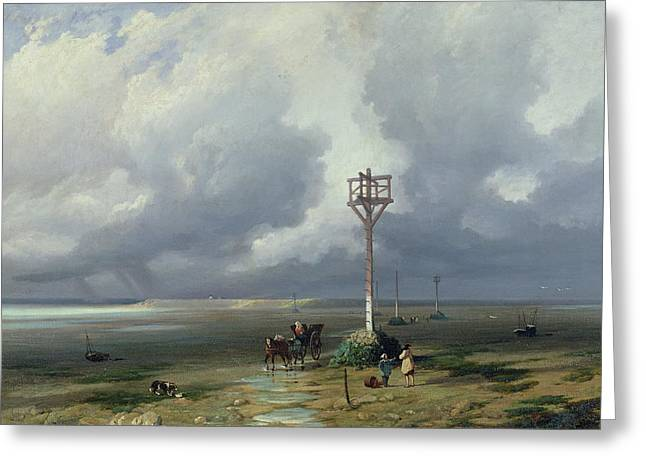 Horse And Cart Photographs Greeting Cards - The Passage Du Gois At Noirmoutier, 1859 Oil On Canvas Greeting Card by Prosper Barbot