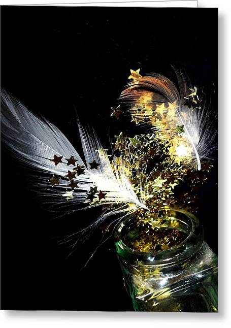 Night Angel Greeting Cards - The passage of an angel Greeting Card by Donatella Muggianu