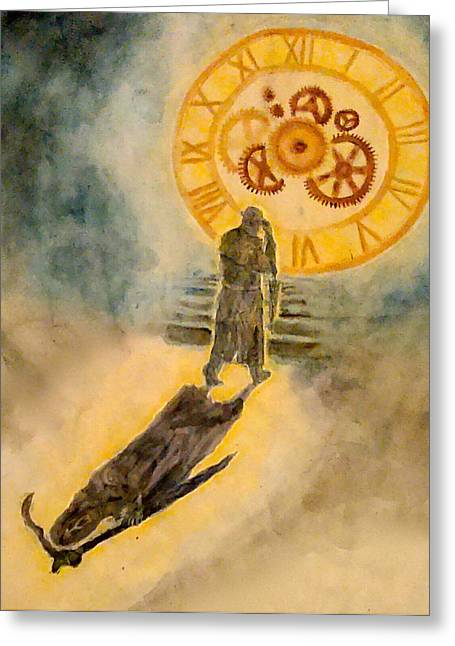 Film Noir Mixed Media Greeting Cards - The Passage of Father Time Greeting Card by Jennie Hallbrown