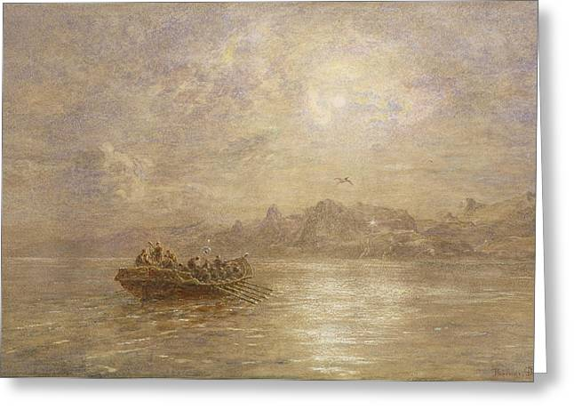 Fog Mist Paintings Greeting Cards - The Passing of 1880 Greeting Card by Thomas Danby