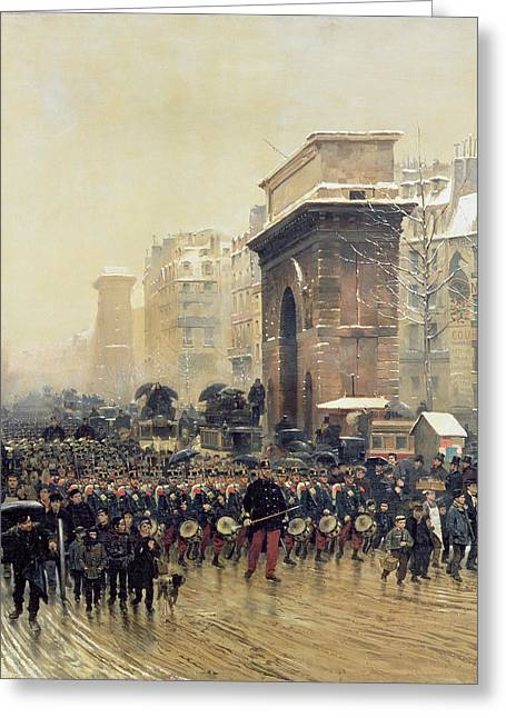 Saint-martin Greeting Cards - The Passing Regiment, 1875 Oil On Canvas Greeting Card by Jean-Baptiste Edouard Detaille