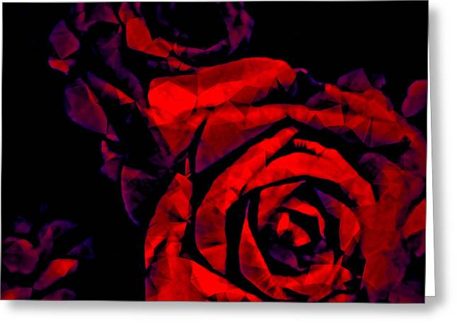 Surreal Geometric Greeting Cards - The Passion of the Rose Greeting Card by Susan Maxwell Schmidt