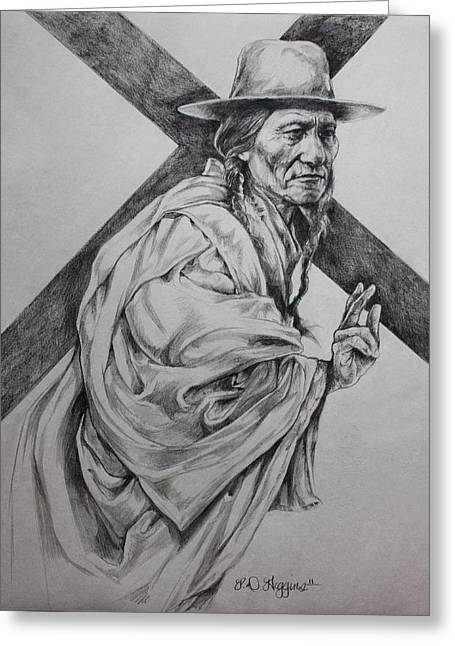 Western Pencil Drawings Greeting Cards - The Passion-sketch Greeting Card by Derrick Higgins