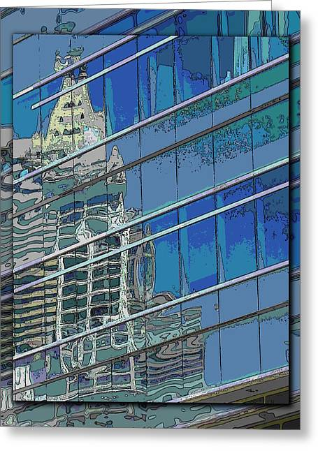 Light Blue Grey Greeting Cards - The Past Reflecting On The Present Greeting Card by Tim Allen