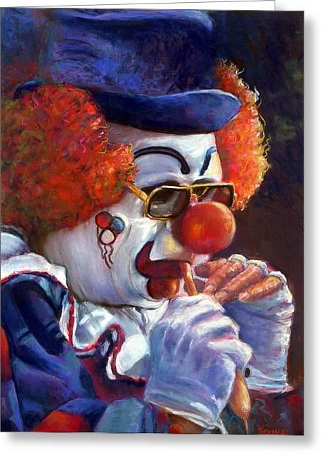 Jaxine Cummins Pastels Greeting Cards - The Pastel Clown Greeting Card by JAXINE Cummins