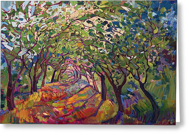 Natural Beauty Paintings Greeting Cards - The Path Greeting Card by Erin Hanson