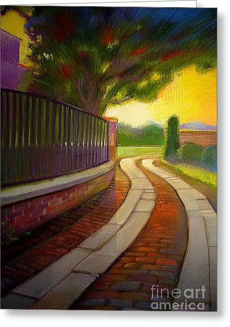 Brick Pastels Greeting Cards - The Path Greeting Card by John  Foster