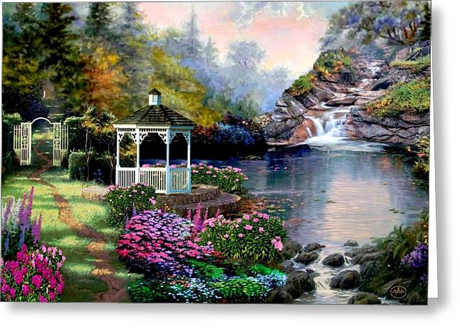 Recently Sold -  - Kinkade Greeting Cards - The Path Least Followed Greeting Card by Ronald Chambers