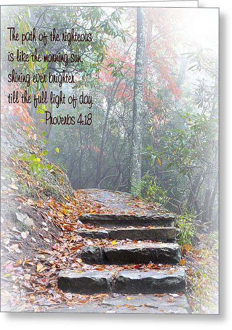 Stone Steps Greeting Cards - The path of the righteous  Greeting Card by Todd Hostetter