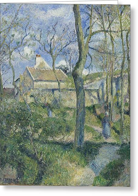 Camille Pissarro Digital Greeting Cards - The Path to Les Pouilleux Pontoise Greeting Card by Camille Pissarro