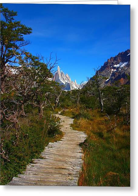 The Path To Mountains Greeting Card by FireFlux Studios