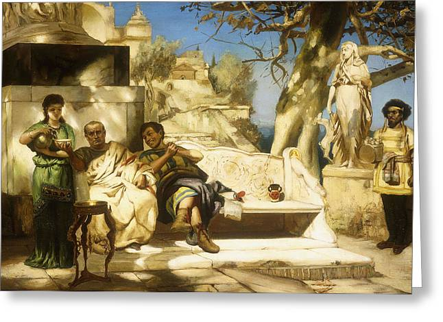 Sun Shade Greeting Cards - The Patricians Siesta Greeting Card by Hendrik Siemiradzki