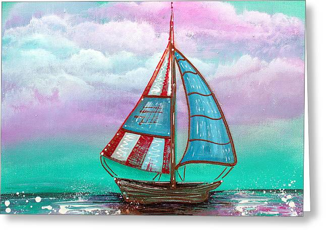 Sailboat Art Greeting Cards - The Patriot Greeting Card by Laura Barbosa