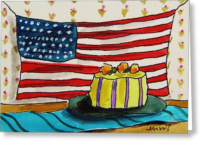 Aceo Original Drawings Greeting Cards - The Patriotic Baker Greeting Card by John  Williams