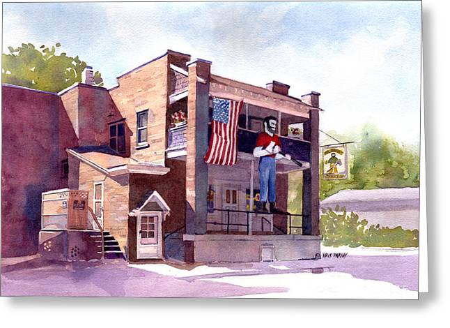 Charming Town Greeting Cards - The Paul Bunyan Hotel Greeting Card by Kris Parins
