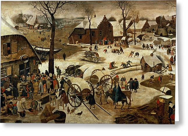 Snowball Fight Greeting Cards - The Payment Of The Tithe Or The Census At Bethlehem Oil On Panel For Detail See 89722 Greeting Card by Pieter the Younger Brueghel