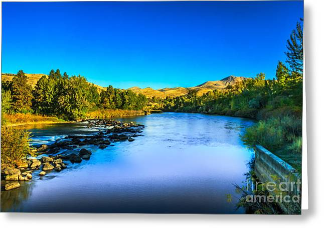 Haybale Greeting Cards - The Peaceful and Beautiful Payette River Greeting Card by Robert Bales