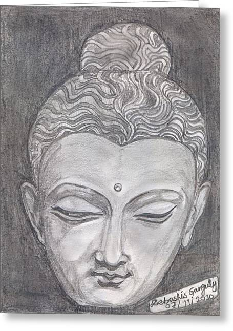 Buddha Sketch Greeting Cards - The Peacemaker Greeting Card by Debashis Ganguly