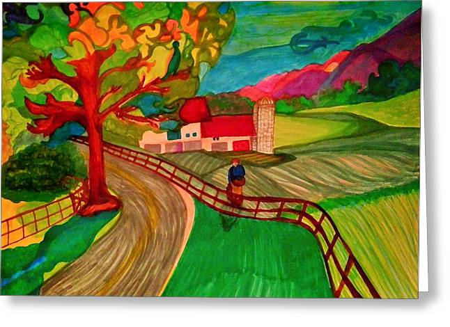 Wine Country. Drawings Greeting Cards - The Peach Picker Greeting Card by Jill Jacobs