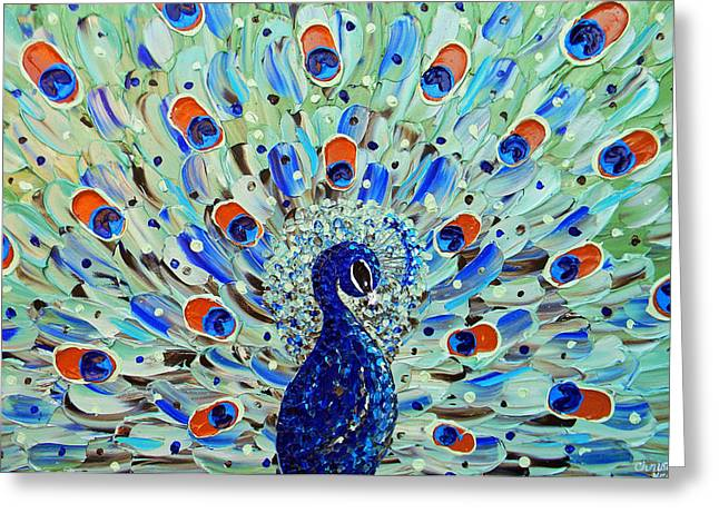 Contemporary Art By Christine Greeting Cards - The Peacock Greeting Card by Christine Krainock