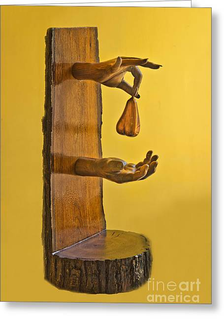 Wooden Sculpture Greeting Cards - The Pear Greeting Card by Al Bourassa