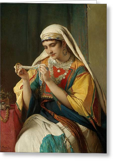 Francois Greeting Cards - The Pearl Necklace Greeting Card by Jean Francois Portaels