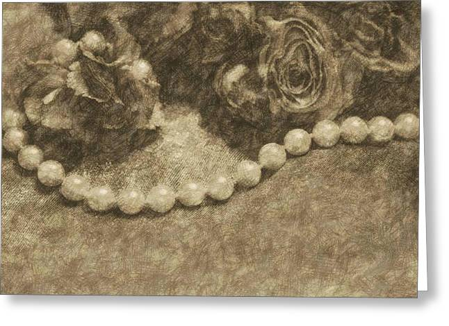 The Pearl Necklace Greeting Card by  The Art Of Marilyn Ridoutt-Greene